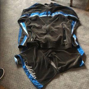 Grey velour Adidas track suit